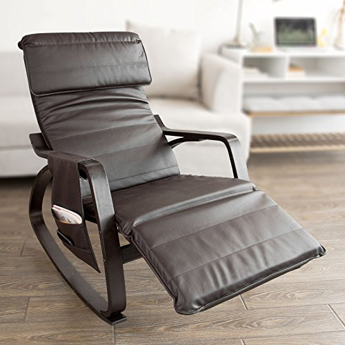 Haotian Comfortable Relax Rocking Chair with Foot Rest Design, Lounge Chair, Recliners Removable Side Bag,FST20-BR,Brown ()