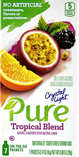 Crystal Light Pure Tropical Blend On The Go Drink Mix, 7-Packet Box (5 Box Pack)
