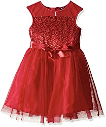 Girls Sequin Dress with Ribbon