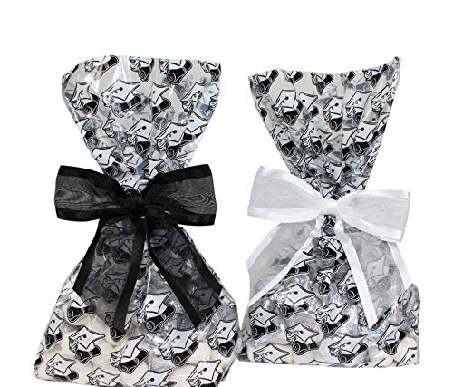 Saybrook Products Graduation Cellophane Treat/Party Favor Bags with Twist-Tie Organza Bow. Set of 10 Ready-to-Use, Gusseted 11x5x3 Goodie Bags with Bows. 5 Black/ 5White