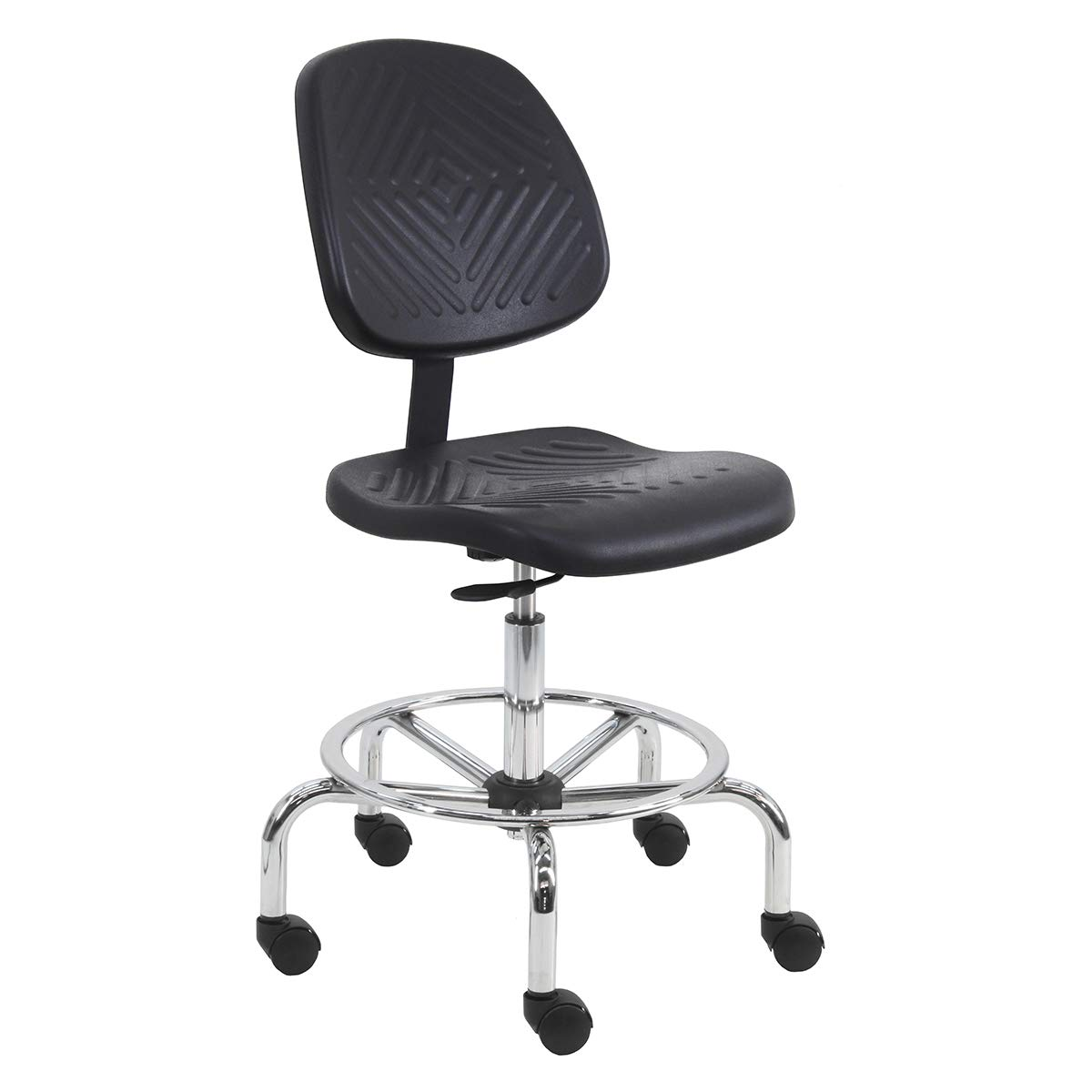"""450 lb Capacity 21-31 Height Adjustment BenchPro Deluxe Urethane Chair with 18/"""" Adjustable Footring and Chrome Base"""