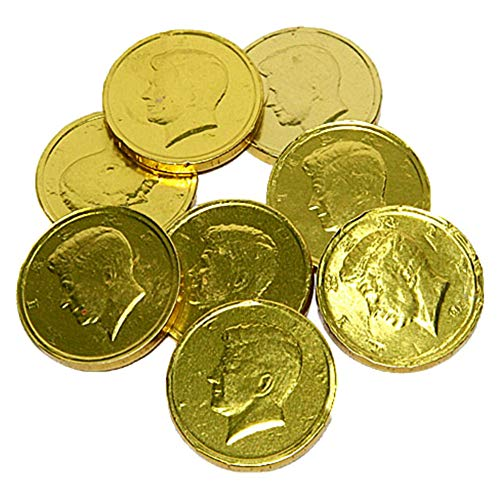 Gold Foiled Milk Chocolate Half Dollar Coins - 3 LB Bulk Bag