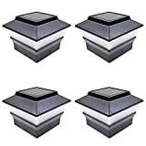 iGlow 4 Pack Black Outdoor Garden 4 x 4 Solar LED Post Deck Cap Square Fence Light Landscape Lamp Lawn PVC Vinyl Plastic