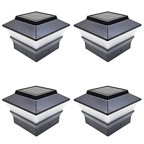 iGlow 4 Pack Black Outdoor Garden 4 x 4 Solar LED Post Deck Cap Square Fence Light Landscape Lamp Lawn PVC Vinyl Plastic by iGlow