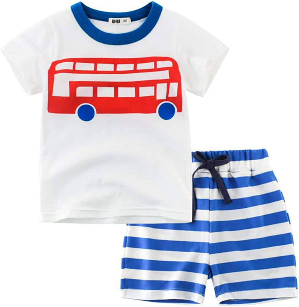 Lazzon Boy T Shirt Sets Cotton Short Sleeve Blouse with Elastic Short Pants Outfits Children Summer Casual Top