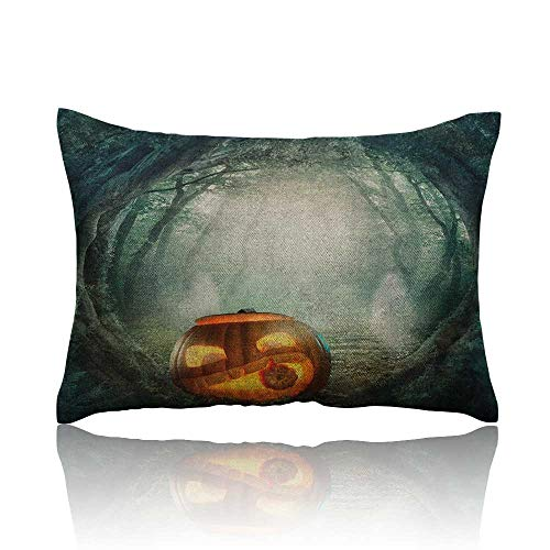 Halloween Pillowcase Drawing of Scary Halloween Pumpkin Enchanted Forest Mystic Twilight Party Art Travel Pillowcase 20