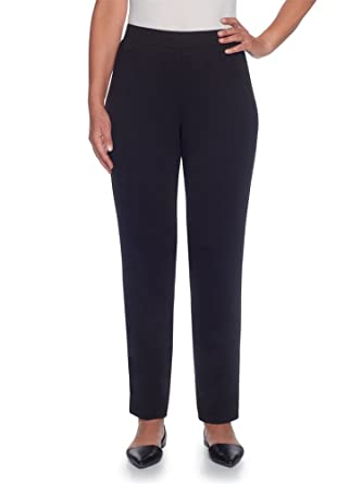 ccca00a4e50b5 Alfred Dunner Women s Classic Ponte Slim Short Pants (Plus Size) (Black