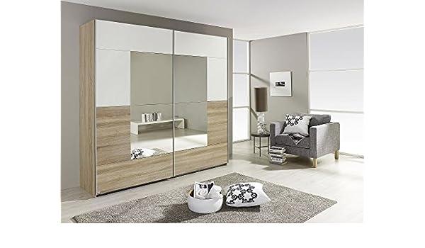 Armario de puertas correderas CRATO de ancho y 175 cm de madera de roble blanco/Sonoma: Amazon.es: Hogar