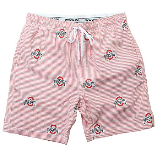 - Wes and Willy NCAA Mens Seersucker Beach Shorts (X-Large, Ohio State Buckeyes)