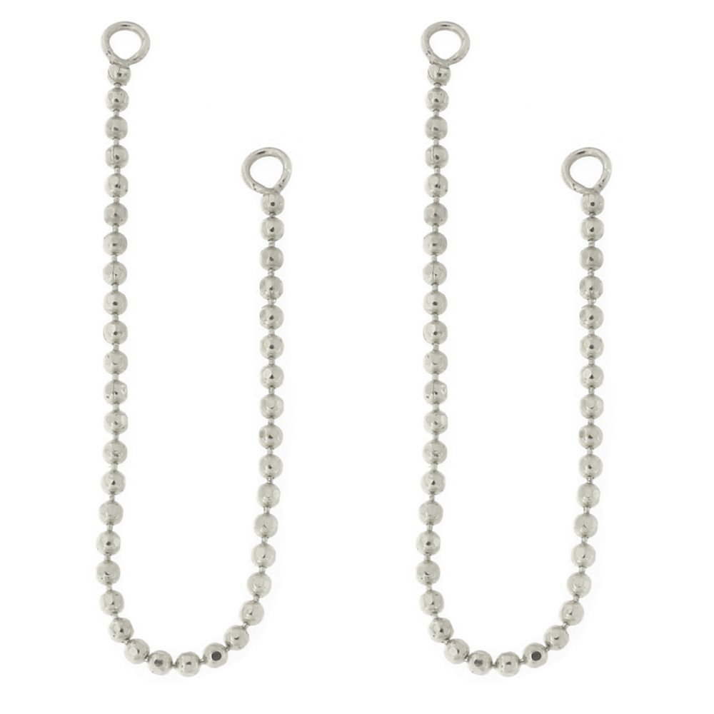 Automic Gold Solid 14k White Gold Bead Chain Earring Jacket Connector