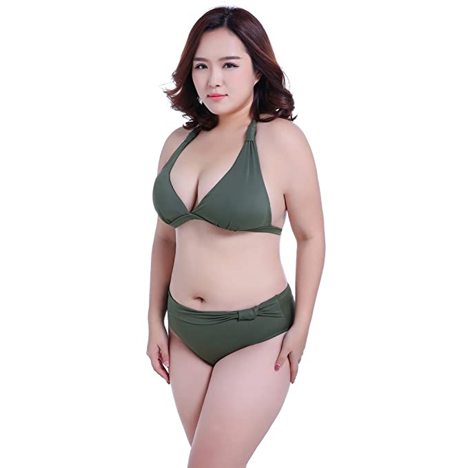 90a42727f5f14 Amazon.com  Engood Women s Plus Size Push Up Padded Swimsuit Bikini ...