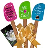 gift for cooking - 3 Piece Fun Silicone Spatula Gift Set with lovely bow and photo gift card. Easy clean, durable, high temperature and stain resistant. Bamboo handles. Great for gifts, baking, cooking, sauteing.