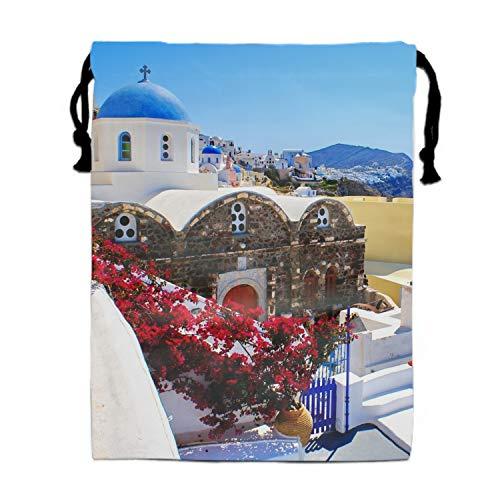 Unisex Greece Santorini Garden Drawstring Bag Travel Bag