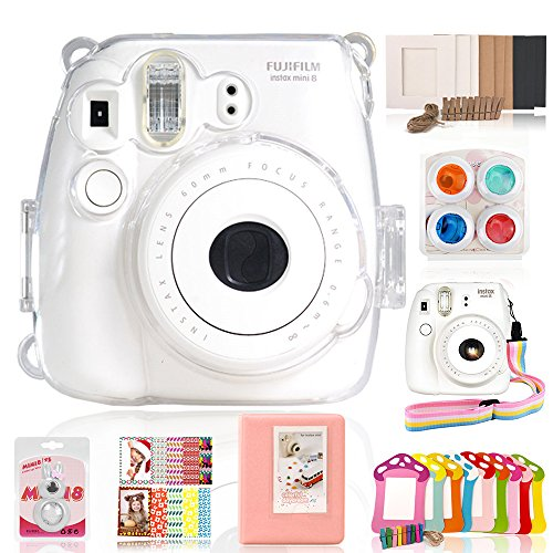 Fujifilm Instax Mini 8 / 8+ / Mini 9 Accessories – Wolven 7 in 1 Camera Accessory Bundles Set (Crystal Case/Album/Selfie Lens/Effect Lens Filter/Wall Hanging Paper Frames/Film Stickers) – Transparent