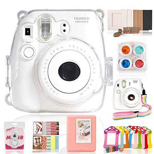 Fujifilm Instax Mini 8 / 8+ / Mini 9 Accessories – Wolven 7 in 1 Camera Accessory Bundles Set (Crystal Case/Album/Selfie Lens/Effect Lens Filter/Wall Hanging Paper Frames/Film Stickers) – Transparent