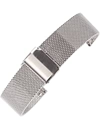 16mm Thin Mesh Milanese Watch Strap Silver Chain Belt Wristband for Women's Watches 304 Stainless Steel