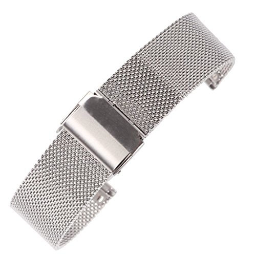 Bracelet Buckle Hook (14mm Classic Silver Mesh Watch Band Milanese Loop Stainless Steel Watch Bracelet with Safety Hook Buckle)