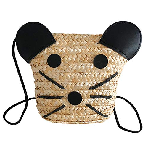- ✔ Hypothesis_X ☎ Children's Baby Bag Cute Animal Decorative Weaving Bag Messenger Bag Summer Casual Bag