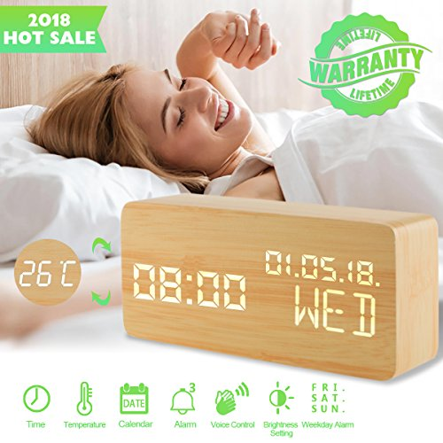 Alarm Clock,Wood Alarm Clock Voice Command Digital Clocks for Bedroom Beside LED Wooden Clock Small Alarm Clocks 3 Levels Brightness 3 Alarms Desk Clock Show Time Date Week Temperature for Office Home