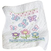 Janlynn Butterfly Quilt Stamped Cross Stitch Baby Blanket Kits