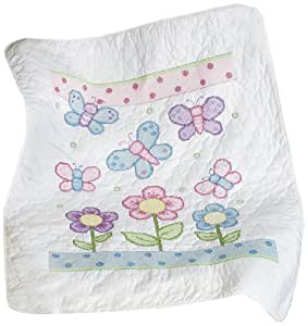 Amazon Com Janlynn Butterfly Baby Quilt Stamped Cross