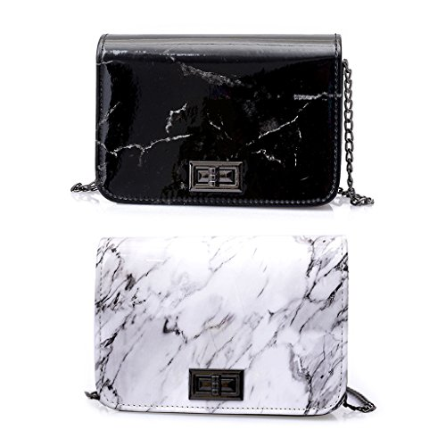Women Bag Marble Leather Bags Hobo Handbag Tote Purse Shoulder Messenger Pattern Numkuda Black dxFIqw5gd