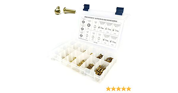 1//2 Length Pack of 100 Plain Finish #6-32 Threads Slotted Drive Brass Machine Screw Round Head