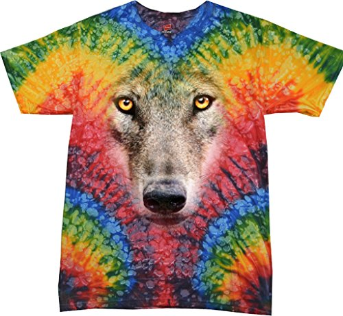 Mens Big Wolf Face Tie Dye T-Shirt, Woodstock, Medium