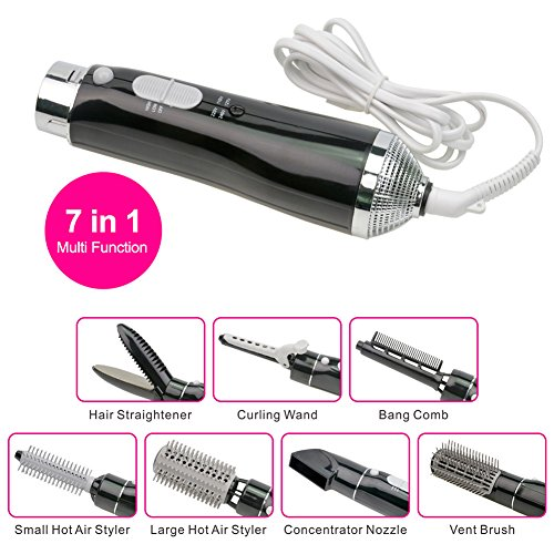 7-in-1 Multifunctional Professional Styling Electric Hair Dryer Hairdryer Set Hair Styling Brush Comb (Hot Air Styler, Concentrator Nozzle, Curling Wand & Curler Styling Tools) (With The Box, (Best Ckeyin Curling Iron Ceramics)