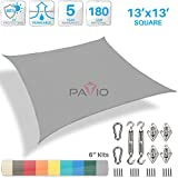 Patio Paradise 13' x 13' Sun Shade Sail with 6 inch Hardware Kit, Light Grey Square Patio Canopy Durable Shade Fabric Outdoor UV Shelter Cover - 3 Year Warranty - Custom Size Available