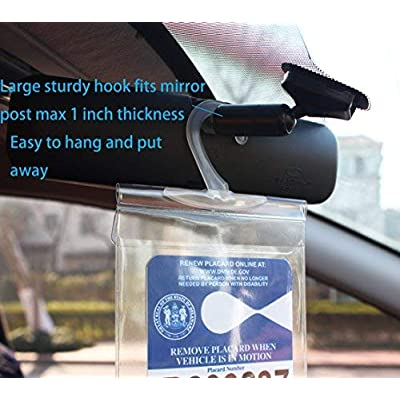 LotFancy Handicap Parking Placard Holder Cover, Disabled Parking Permit with Large Hanger for Autos, Pack of 4: Automotive