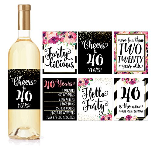 6 40th Birthday Wine Bottle Labels or Stickers Present, 1978 Bday Milestone Gifts For Her Women, Cheers to 40 Years, Funny Fortylicious Pink Black Gold Party Decorations For Friend, Wife, Girl, Mom -