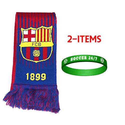 (FC Barcelona Scarf Reversible + Silicone Soccer Quote Set 2 Pcs FCB002 FCB Barcelona)