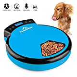 Funkeen 5-Meal Pet Feeder - Smart Automatic Feeder Cat Auto Feeder Timer Programmed with Dual Power Supply & Voice Recorder - 240ml x 5 for Dry & Semi-Wet Smart Feeder Dog Food Dispenser Blue