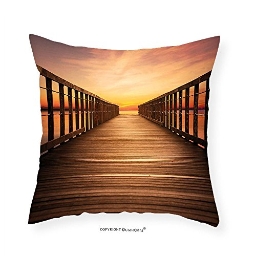 VROSELV Custom Cotton Linen Pillowcase Sunset Wooden Pier with Colorful Sky on Beach Dramatic Lights Serene Picture for Bedroom Living Room Dorm Light Brown Orange Yellow (Big Sky Futon Cover)