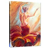 Live Art Decor - Framed Giclee Canvas Print,Beautiful Dancing Woman in Red Flying Skirt Painting Picture Canvas,Sexy Lady Wall Art Home Wall Decor Ready to Hang-24''x 36''