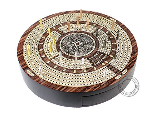 (House of Cribbage - Round Shape 4 Tracks Continuous Cribbage Board - Rosewood / Maple - Push Drawer with Score marking fields for Skunks, Corners & Won Games)