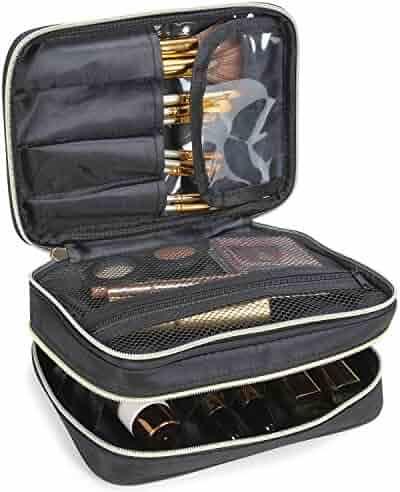 Lifewit Travel Makeup Case, Makeup Bag, Cosmetic Organizer, Portable 2-Decker Makeup Pouch and Holder, Premium Makeup Storage Bag Mother's Day Gift, Black