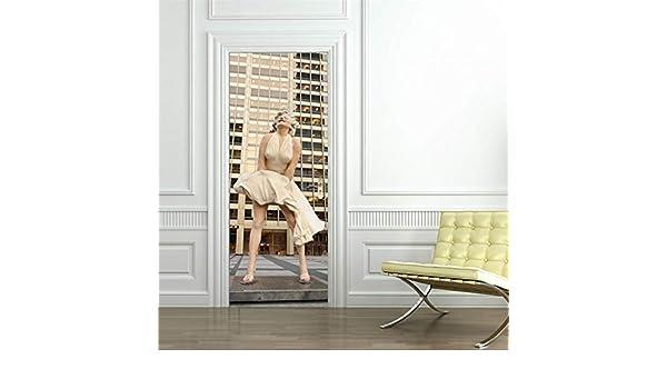 ZGQQQ Marilyn Monroe 3D por La Etiqueta Engomada Decoración Casera Decorativa por Las Etiquetas Engomadas Porte Adhesivo Papel Pintado Desprendible Etiquetas Engomadas En Las Puertas: Amazon.es: Hogar