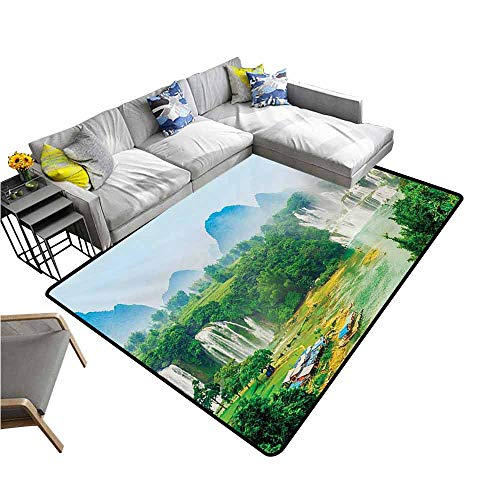 Kitchen Mat Nature,Detain Waterfall Guangxi Misty Jungle Forest Waterscape Scene Picture,Fern Green Multicolor 48
