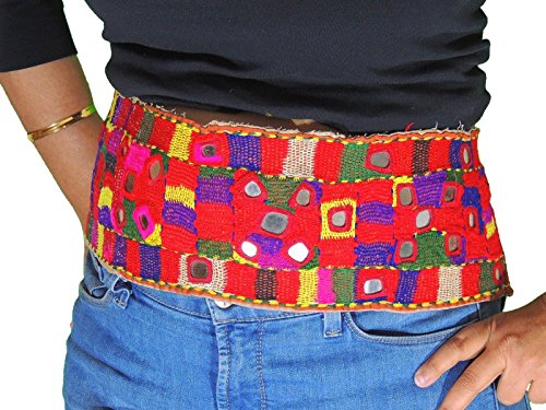 NovaHaat Kuchi Banjara Ladies Belt Trim Handmade Mirror Embroidered Old Textile -