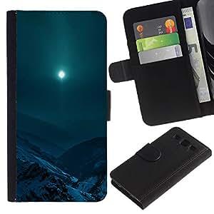 YiPhone /// Tirón de la caja Cartera de cuero con ranuras para tarjetas - Moon Mountain - Samsung Galaxy S3 III I9300
