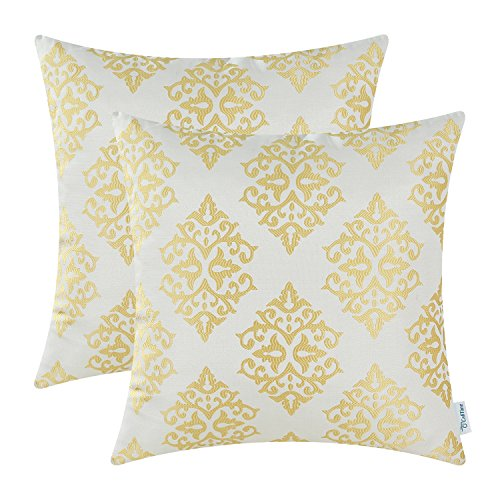(CaliTime Pack of 2 Soft Jacquard Throw Pillow Covers Cases for Couch Sofa Home Decoration Vintage Damask Floral 18 X 18 Inches Gold)