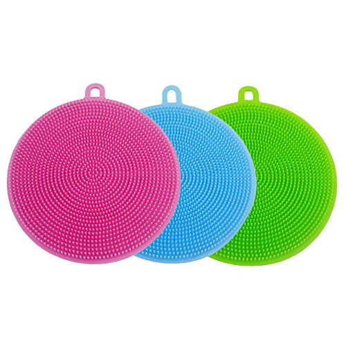 Silicone Sponge Antibacterial Brush Dish Scrubber - From HUSH BEAR 3 Pieces Pot Holder Multipurpose Dish-Washing Mildew Free Antimicrobial (Dish Sponge Brush)