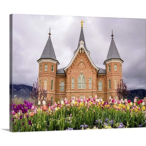 Provo City Center Temple, Springtime Tulips, Provo, Utah Canvas Wall Art Print, 20
