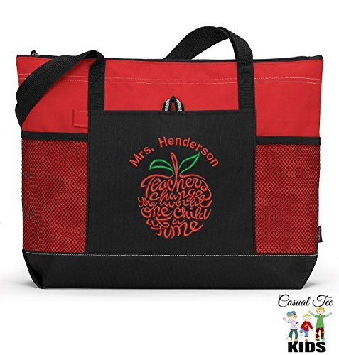 Personalized Teacher Tote Bag with Mesh Pockets -