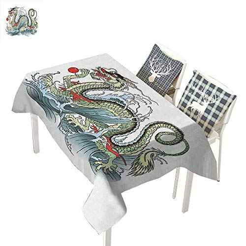 Holders Circus Baby Candle - WilliamsDecor Japanese Dragon Cloth tablecloths Far Eastern Water Dragon Splashing Waves Legend CreaturePale Green Vermilion Sage Rectangle Tablecloth W60 xL102 inch