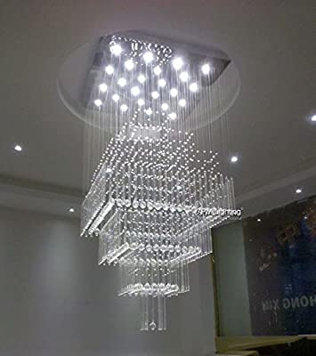 """7PM W24"""" X H55"""" Modern Contemporary Crystal Chandelier Luxury Square Rain Drop Lamp Clear LED Light Staircase Lighting Fixture"""