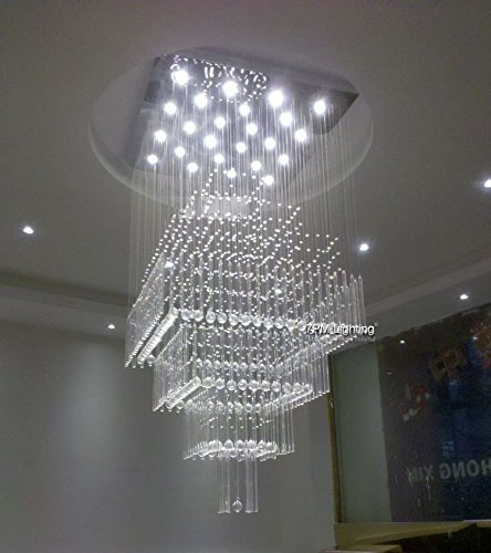 7PM W32″ X H80″ Modern Contemporary Crystal Chandelier Luxury Square Rain Drop Lamp Clear LED Light Staircase Lighting Fixture