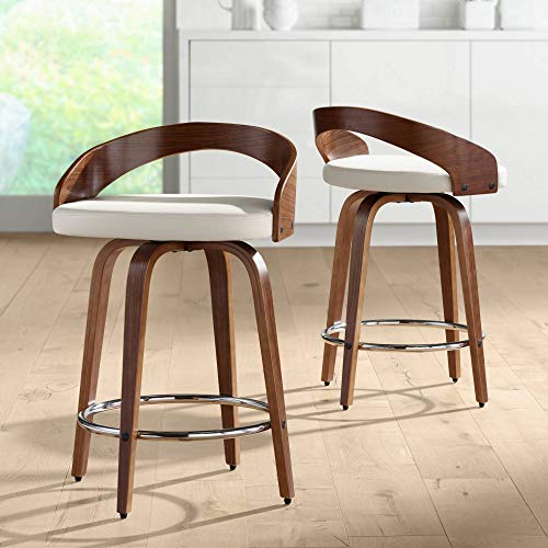 "Gratto 24"" Cream Faux Leather Swivel Counter Stools Set of 2"